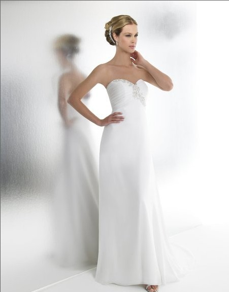 free shipping 2018 New Chiffon A-line Sweetheart empire waist embroidery train seed beads sequins bridal gown   bridesmaid     dresses