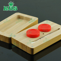Factory price silicone jards dab wax container with wood and bamboo package, essential oil wood box wax wood box 10sets