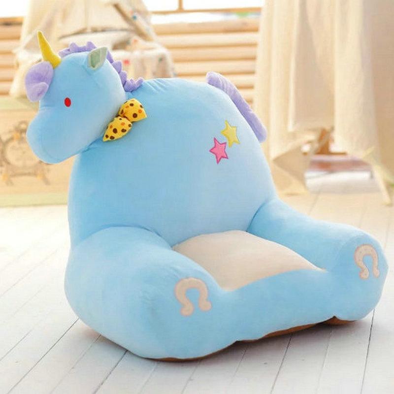 Joli siège de bébé en peluche licorne cheval chanceux animaux en peluche enfant jouets anniversaire noël cadeau peluche poupée oreiller