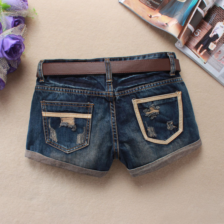 Women Sexy Mini Shorts Rivet Holes Jeans Low Waist Shorts Without Belt Ripped Denim Short 21