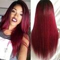 8A Borgoña Ombre color virginal del pelo humano Peluca Llena Del Cordón Glueless Borgoña Recta Pelucas rayita natural para afroamericano