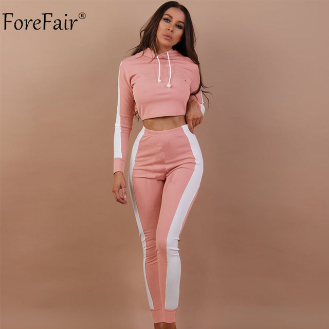 8773e33abca7 Forefair Hooded Sport Suits Female Autumn 2018 Casual Tracksuit Slim ...