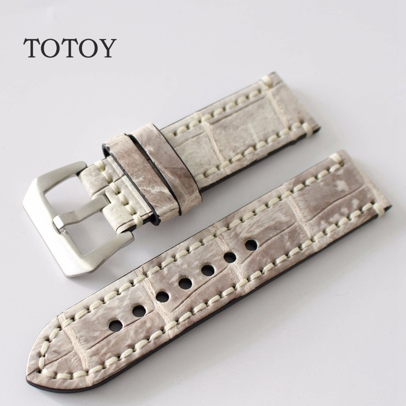 TOTOY Handmade American Crocodile Leather Strap 20MM 22MM 24MM 26MM Leather Watch Band Suitable for PAM111 441Men Watch Strap eache 20mm 22mm 24mm 26mm genuine leather watch band crazy horse leather strap for p watch hand made with black buckles