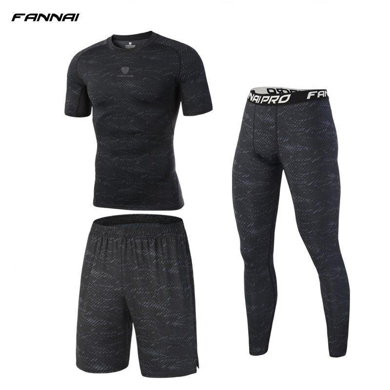 Los hombres de 3 piezas de compresión de Running trajes evitar deporte Injuri ropa deportiva Jogging trajes pantalones cortos de gimnasio medias