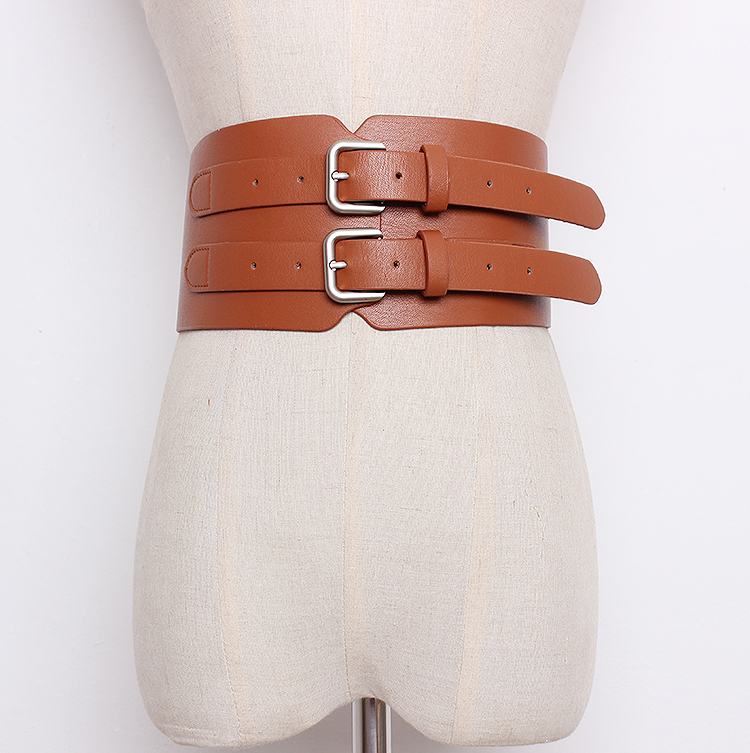 Women's Runway Fashion Solid PU Leather Cummerbunds Female Dress Corsets Waistband Belts Decoration Wide Belt R1358