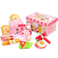 Kitchen Simulation Toy Set Simulated Western Breakfast Wooden Cut Fruit Toy Children Play House Toy Set Blocks