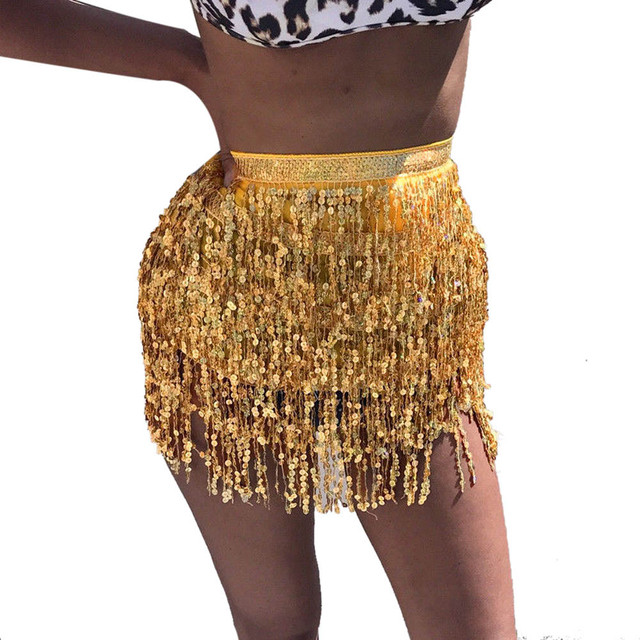 Sleeper #401 2018 NEW FASHION Women Sequin Belly  Dancer Costume Tassel Wrap Skirt Club Mini Skirt sexy party hot Free Shipping 3