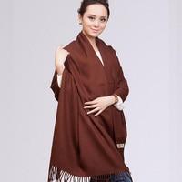 Браун китайский зимы женщин толстый платок искусственный шарф кашемира бахрома длиной пашмины хиджаб чал завышение 68 * 190 см NP024
