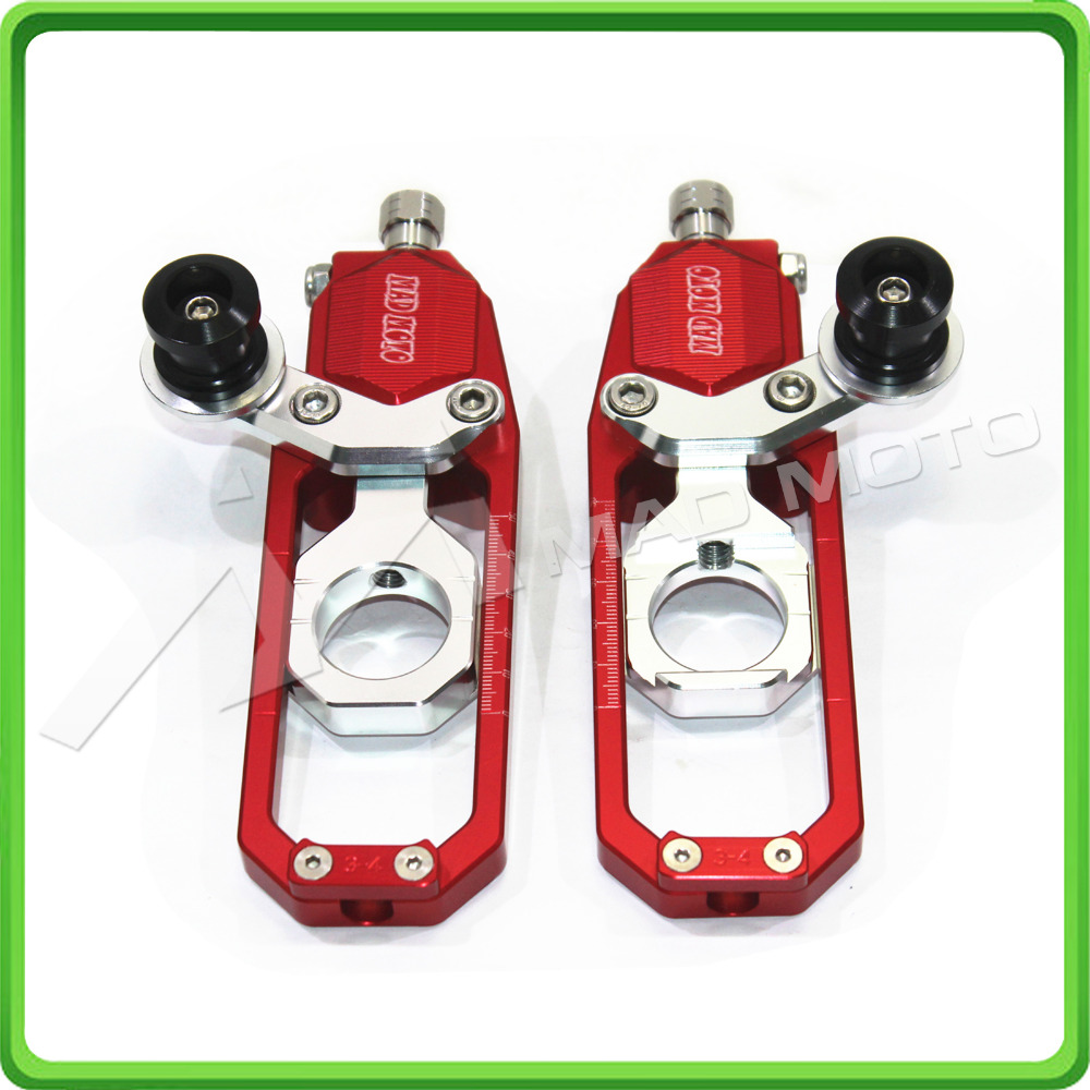 Motorcycle Chain Tensioner Adjuster with paddock bobbins kit for Suzuki GSXR1000 GSXR 1000 GSX-R1000 2007 2008 07 08 Red&Silver paddock