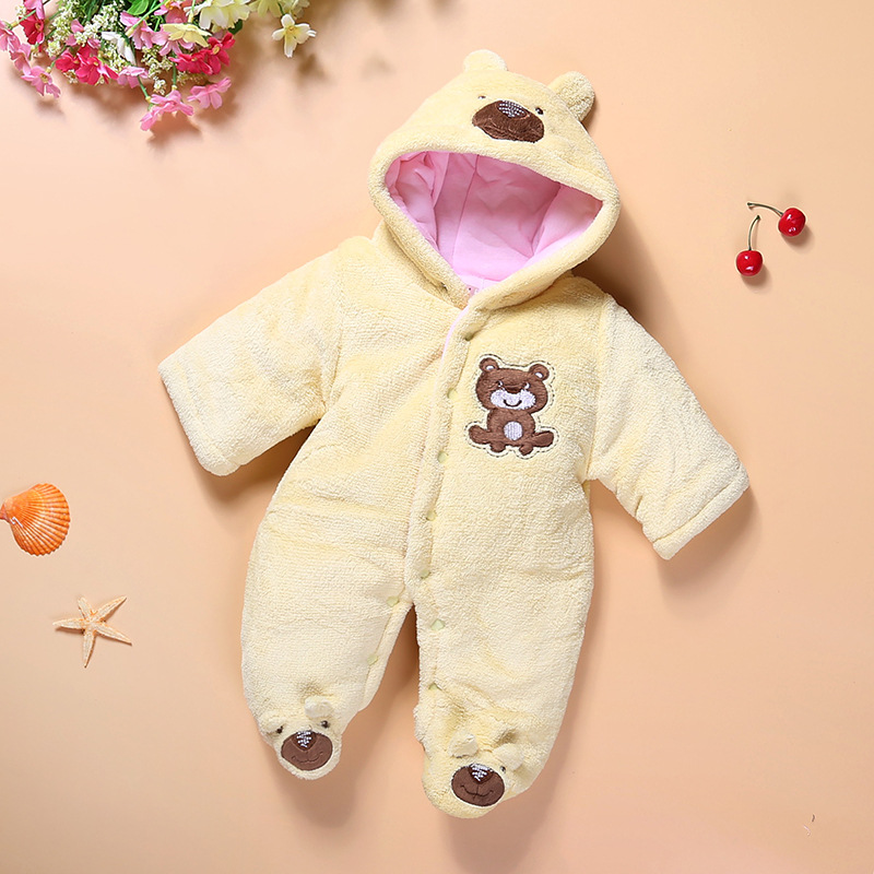 2017 Winter Thicken Baby girls boy rompers Newborn Overalls Coral Velvet Hooded Infant Jumpsuits Toddler Cartoon style costumes newborn baby girls rompers cotton padded thick winter clothing set cartoon bear infant climb hooded clothes babies boy jumpsuits