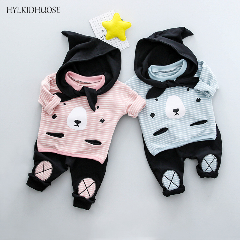 HYLKIDHUOSE Good Quality Children Clothes Sets Baby Girls Boys Suits Stripe Cartoon Cotton T Shirt+Pants Infant Kids Suits good quality baby clothes coat pants 2pcs fashion cotton denim sets 2018 baby boy boys clothes suits children boys clothing