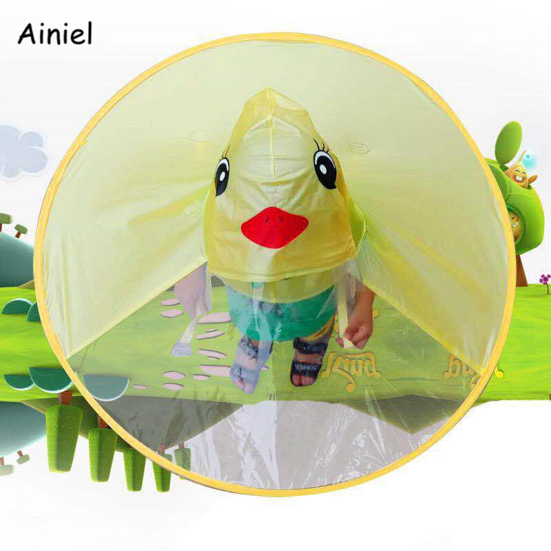 Kids Yellow Duck Raincoats Ufo Cap Umbrella Cosplay Student Rain Coats Automatic Folding Umbrella Creative Design Childrenbaby Home