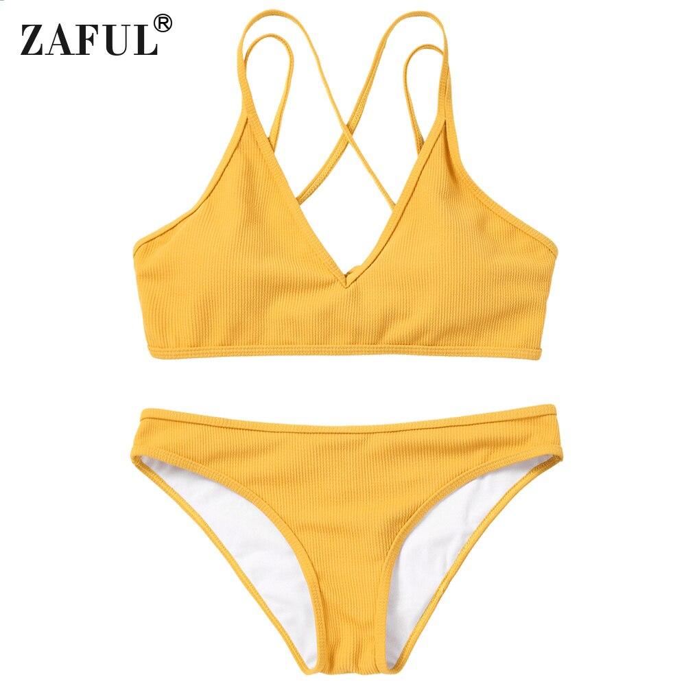ZAFUL Maillots De Bain Femmes Cami Croix Retour Lace Up Bikini Femmes Maillot de Bain Bustier Bikini Rembourré Maillot de bain Brésilien Biquni