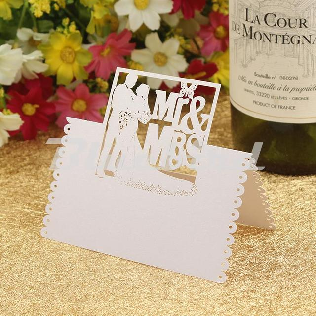Whole 50pcs White Cut Out Mr Mrs Wedding Table Place Cards Party Name Wine
