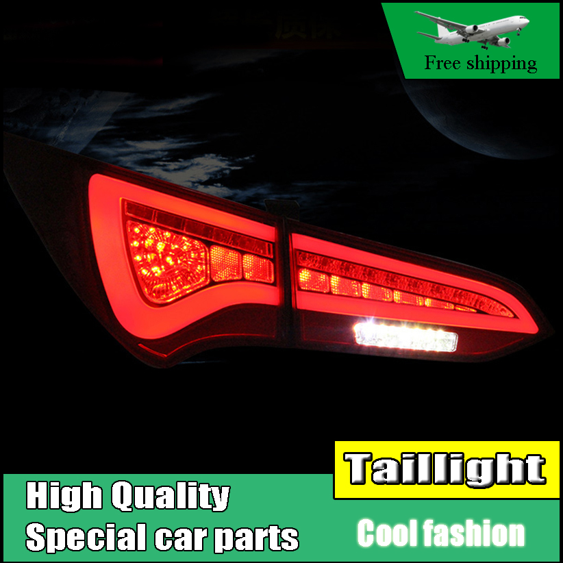 Car Styling LED Tail Lamp For Hyundai Santa Fe IX45 2013-2015 Taillights Rear Light DRL+Turn Signal+Brake+Reverse Accessories accent verna solaris for hyundai led tail lamp 2011 2013 year red color yz