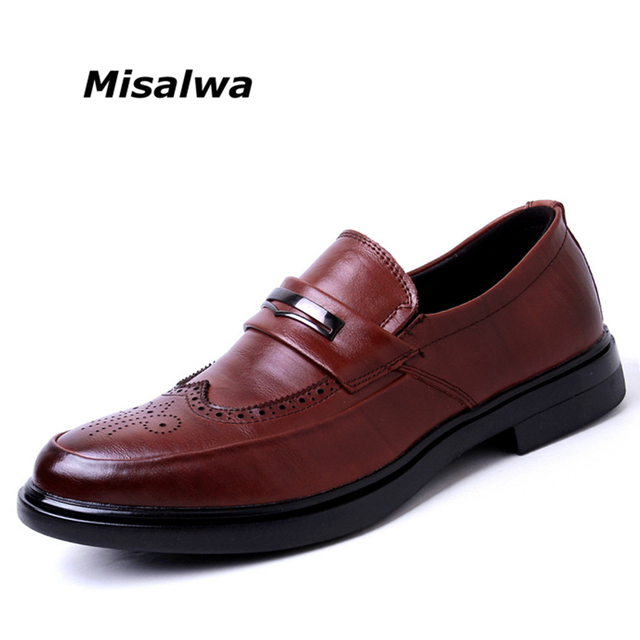 Misalwa Men Casual Oxfords Office Shoes Men Wedding Party Leather Brogue  British 2019 Mens Shoes Casual Luxury Mens Fall Shoes d931c91ba96c