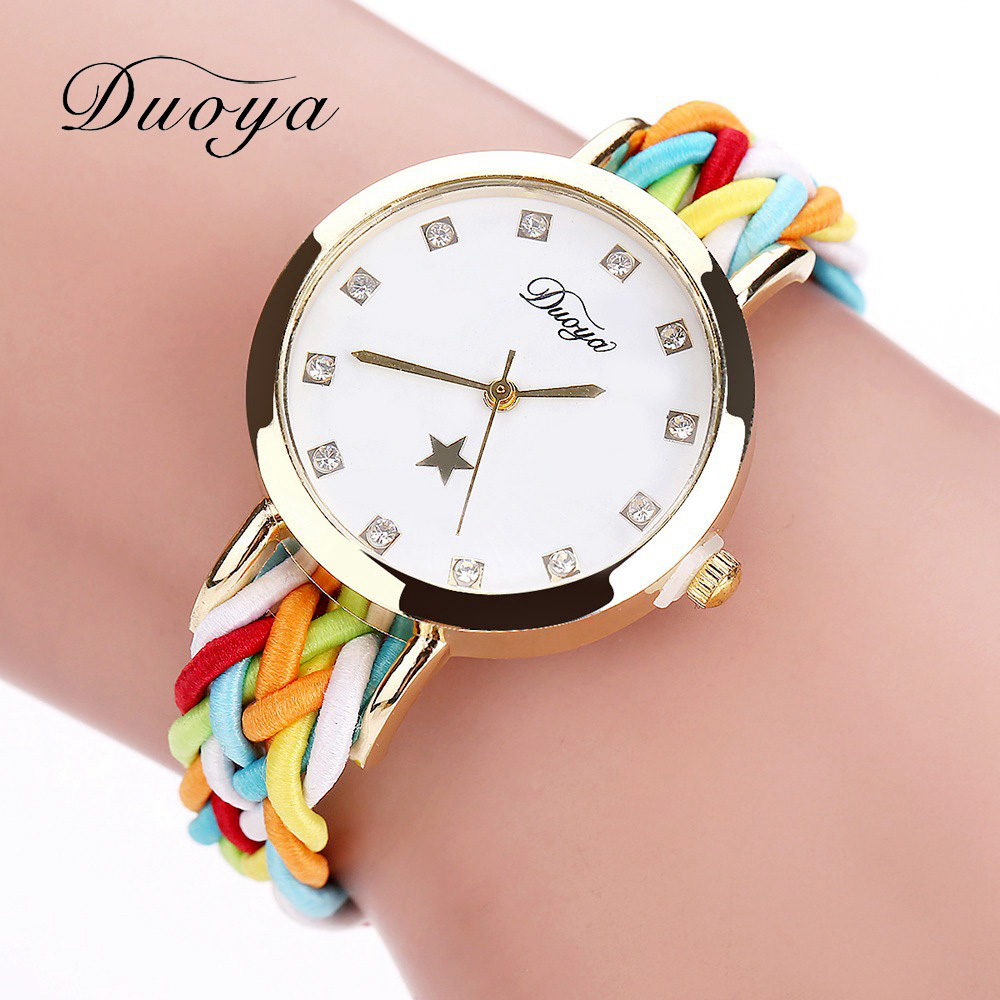 2017 New Fashion Women Gold Flätad Läder Armbandsur För Kvinnor Dam Klänning Star Crystal Luxury Crystal Quartz Watch Klocka