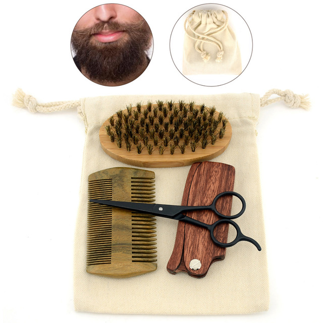 ZY Men Shaving Bristle Bamboo Brush Kit Mustache Beard Scissor Shear Natural Sandal Wood Folding Comb + Free Canvas Bag