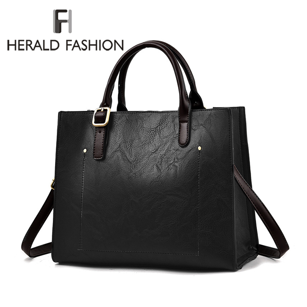 Herald Fashion Top-Handle Bag Women Leather Handbags Large Solid Shopping Tote Bags Female Shoulder Bag Ladies' Messenger Bags instantarts large capacity women handbags high quality lady top handle bag tape print brand design shopping tote shoulder bags