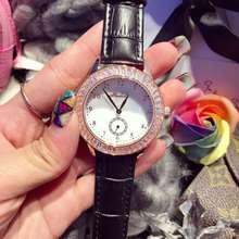 Luxurious Ladies Leather-based Quartz Watch Girls Crystal Diamond Rhinostone Dial Watch Feminine Gown Wristwatch Hours Reloj Mujer OP001