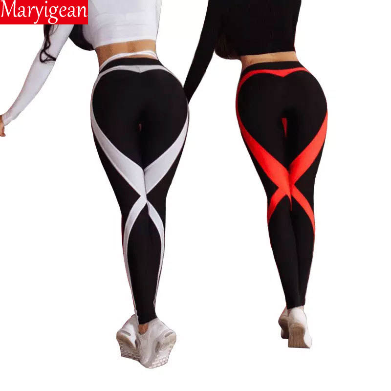 Maryigean High Waist Women Leggings Heart Printing 2019 Spring Polyester Breathable Trousers Workout Leggins Lady's Legging