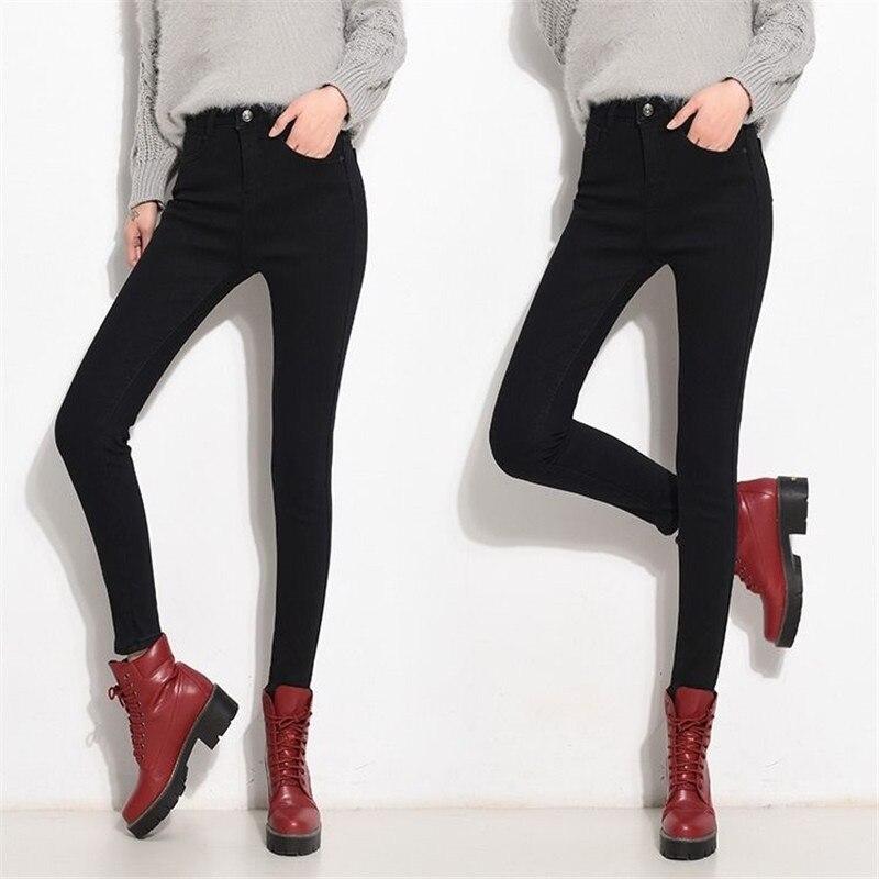 High Waist Warm Jeans For Women Blue Female Black Winter Jeans Women Denim Pants Jean Femme