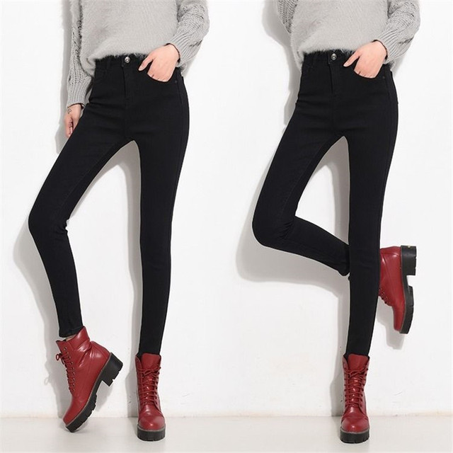 High Waist Warm Jeans For Women Blue Female Black Winter Jeans Women Denim Pants Jean Femme 2018 Ladies Trousers Warm Pants 8
