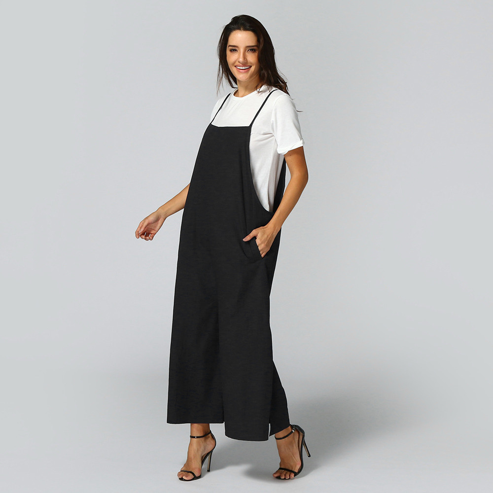 Women Sleeveless soft and comfortable Jumpsuits Overalls Bib Pants Dungaree Trousers L50/0116
