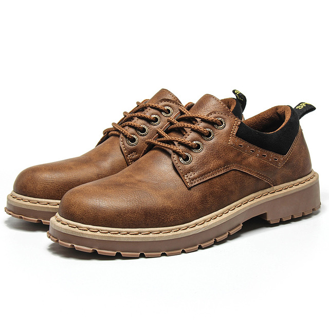 Solid Men Leather Flat Heel Shoes Round Toe Lace-Up Design Male Fashion Casual Boots British Style Comfortable Ankle Boots Z433 serene men oxfords shoes british style lace up shoes waterproof low ankle boots leisure men flat shoes comfortable flats 6215