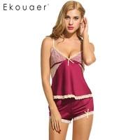Ekouaer Women Sexy Pajamas Set Sleepwear Summer Shorts Sets V Neck Satin Pajama Women S Pajamas