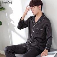 SusanDick 2017 Men Nightwear Long Sleeve Soft China Silk Pajamas 2 Piece Set Summer Autumn Pyjama