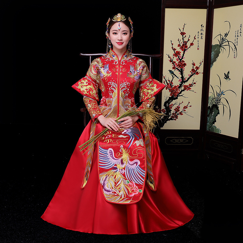 Red Chinese Wedding Bride Cheongsam Traditional Style marry Evening Dress Embroidery Long Qipao Womens and Mens Size S - XXL