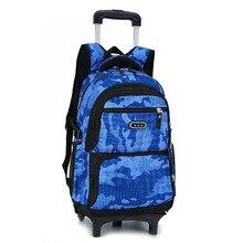 Дети Тележка ранцы рюкзак колеса подняться лестницы дорожные сумки Школьные сумки Дети тележки книга сумки съемный Mochila Escolar