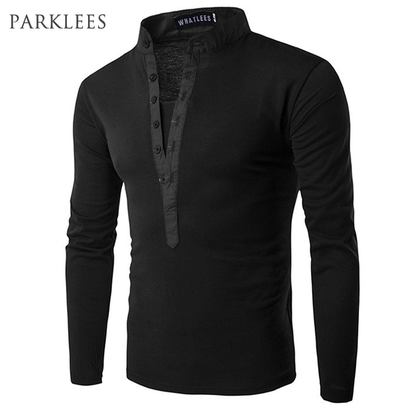 New Trend Black Polo Shirt Men Polo Homme 2016 Autumn Fashion Mens Slim Fit Long Sleeve Henley Shirt Casual Cotton Polos Xxl