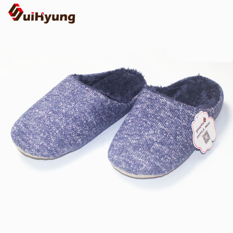 Suihyung Winter Warm Men Women Home Slippers Indoor Shoes Plush House Slippers Non-slip Soft PU Sole Woman Bedroom Floor Slipper autumn winter slippers 2017 women s slippers winter flats cotton sheep lovers home slippers indoor plush size house shoes woman
