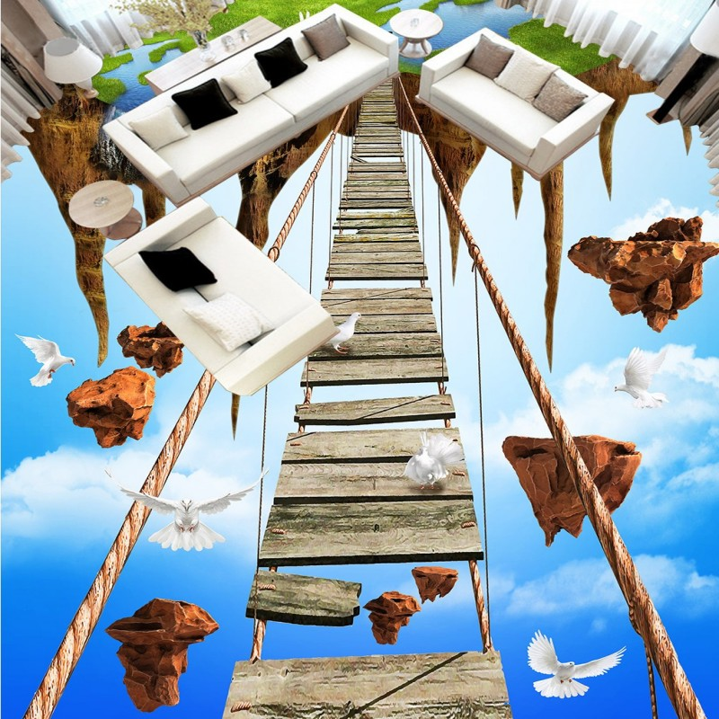 Free Shipping 3D Stereo Sky Empty Island Adventure Rope Bridge Floor kitchen custom Self-adhesive wallpaper mural