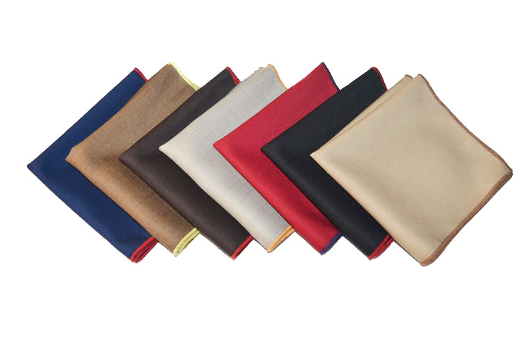 Men Solid Color Pocket Square Rolled Edge Handkerchief Cotton Wedding Hanky
