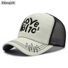 XdanqinX Adjustable Size Adult Men Breathable Baseball Cap Snapback Womens Ponytail Mesh Letter Embroidery Hip Hop Hats