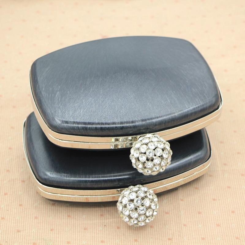 Size 18cm Silver Color With Crystal Big Ball Fashion Metal Purse Frame Vintage Wholesale Purse Frame Plastic Box Clutch Purse