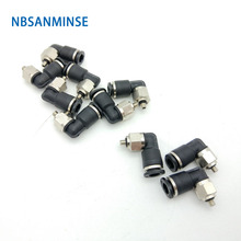NBSANMINSE 10Pcs/lot PL -C M3 M5 1/8 Mini Fittings Push In Air Male Elbow Plastic Brass Fitting Pneumatic Parts