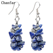Chanfar Colorful Chip Natural Stone Earrings Bohemian Clear Crystal Tiger Eye Crystal Dangle Drop Earrings For