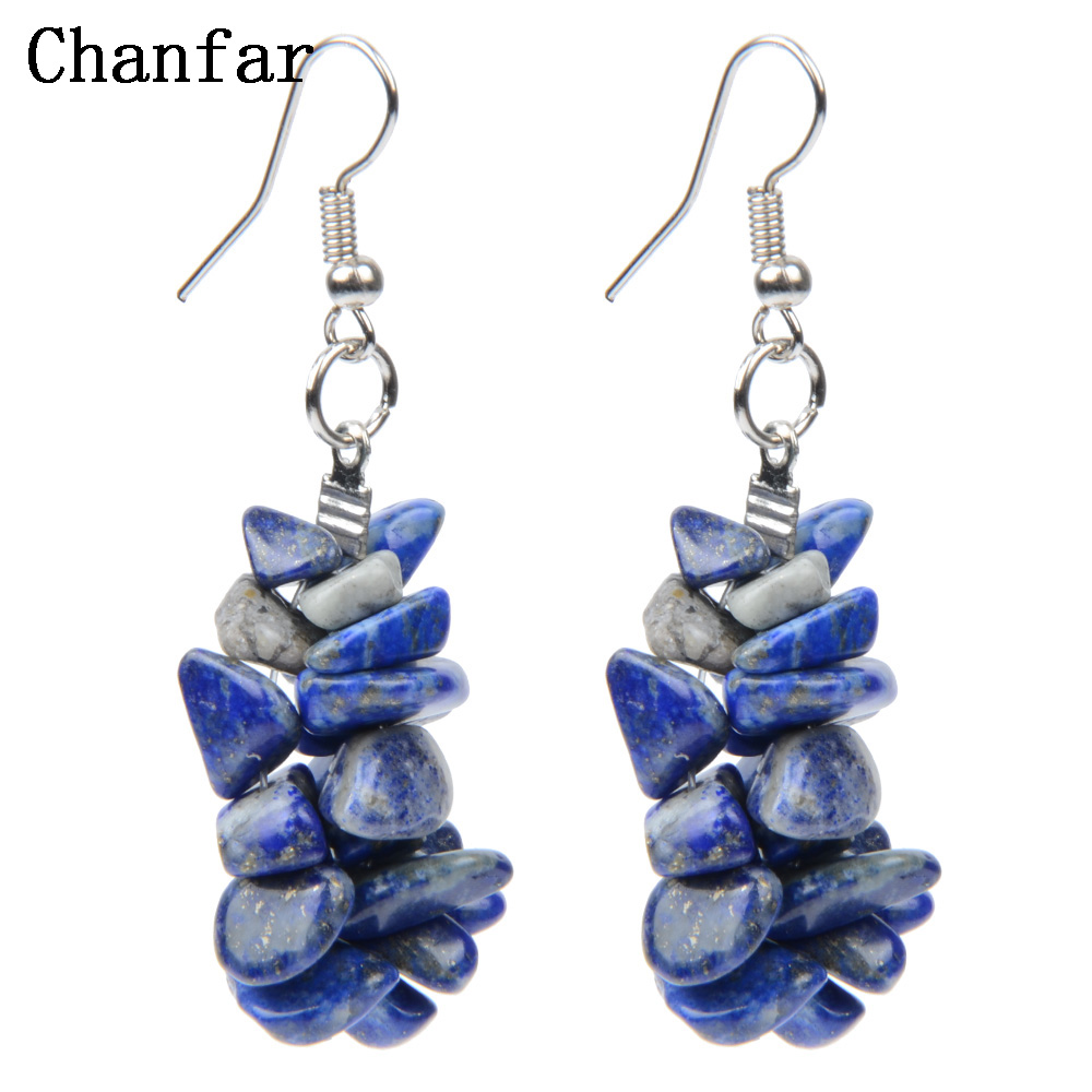 Chanfar Colorful Chip Natural Stone Earrings Bohemian Clear Crytal Tiger Eye font b Crystal b font