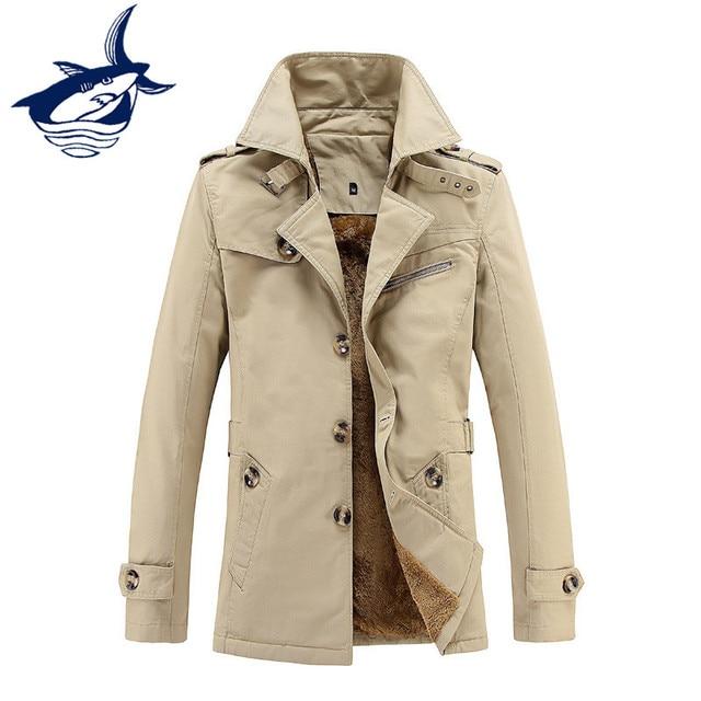 2018 New brand Tace & Shark trench coat men winter autumn fleece long jacket men warm casual slim fit trenchcoat male coat 5XL