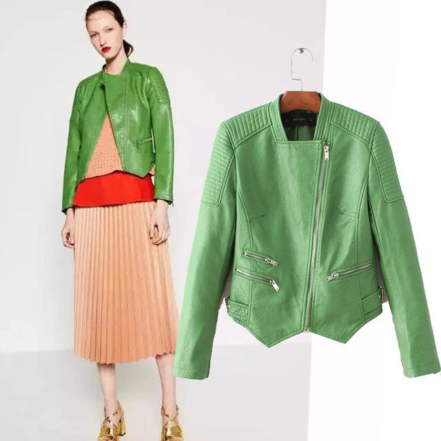 9be438c6ae65f Women Fashion Mandarin Collar PU Leather Jacket Ladies Plus Size Short  Street Style Zipper Composite Coat With Green Red Color