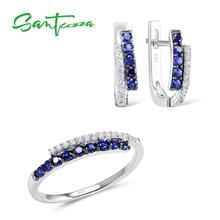 SANTUZZA komplet biżuterii damskiej niebieski Nano cyrkonia zestaw biżuterii kolczyki zestaw pierścieni 925 srebro zestaw biżuterii