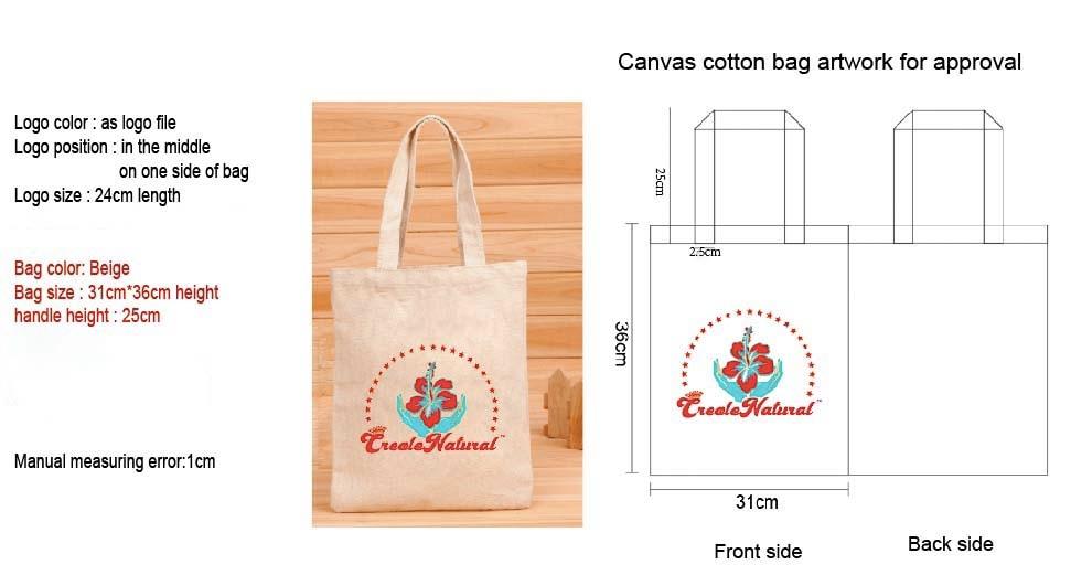 100Pcs Size 31Cm*36Cm Canvas Cotton Tote Bag Customized Logo Eco Company Advertising University Activity