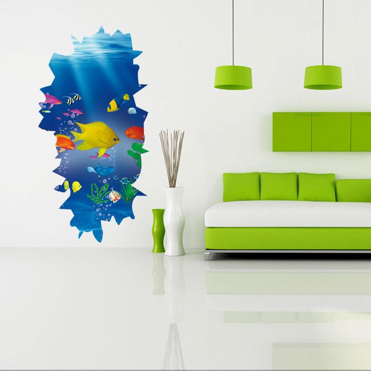 Neue Kreative Mode 3D Unterwasser Park Dekoration Wandaufkleber Khlschrank Maschine Wandtattoos Wohnzimmer TapeteChina