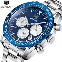 Top Luxury Brand BENYAR Men Watch Full Steel Business Clock Quartz Watch Men Casual Waterproof Sports Watches Relogio Masculino