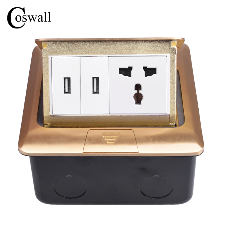 Coswall Pure Copper Gold Panel Pop Up Floor Socket Universal EU UK US Power Outlet With Dual USB Charge Port Metal BoxCoswall Pure Copper Gold Panel Pop Up Floor Socket Universal EU UK US Power Outlet With Dual USB Charge Port Metal Box