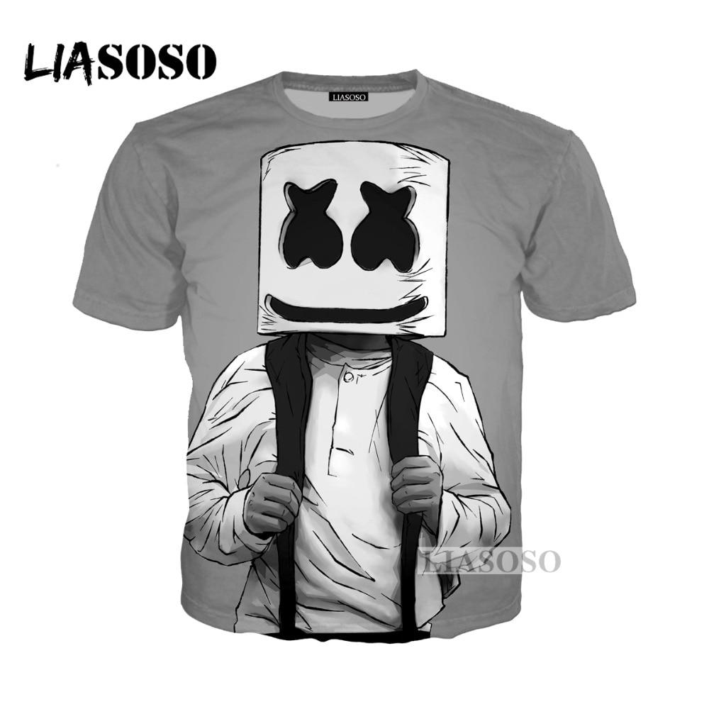 LIASOSO 2018 Harajuku Hip Hop DJ Singer Marshmello 3D Print T Shirt Hoodie Sweatshirt Unisex Cartoon Music Tees Shirts Tops G202 In From Mens